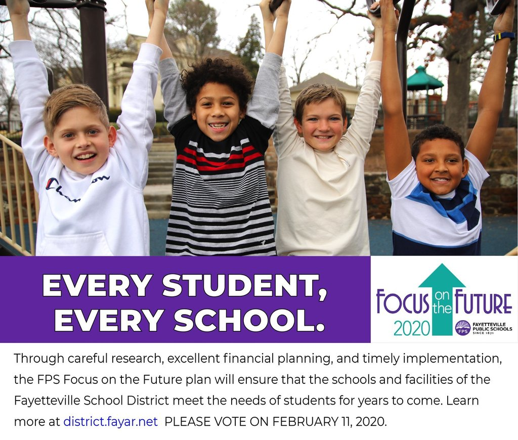 Through careful research, excellent financial planning, and timely implementation, the FPS Focus on the Future plan will ensure that the schools and facilities of the Fayetteville School District meet the needs of students for years to come.