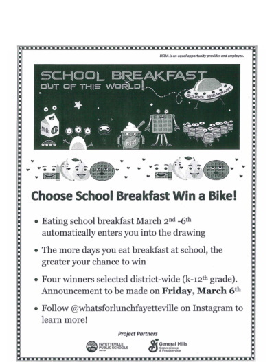 win a bike - eat breakfast flyer