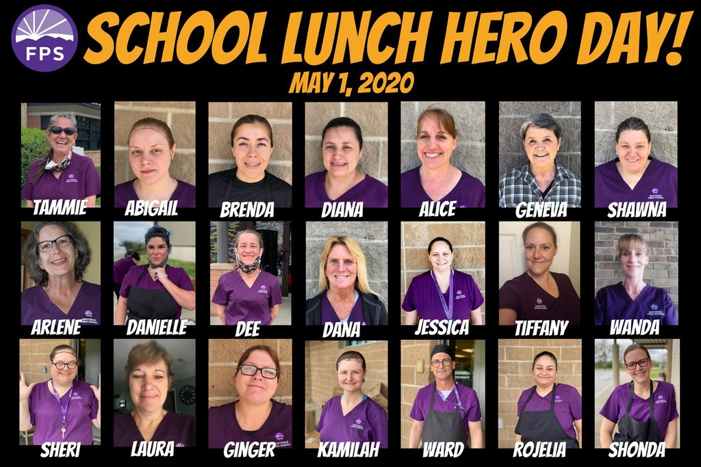 School Lunch Hero Day! Pictures of our Child Nutrition Department!
