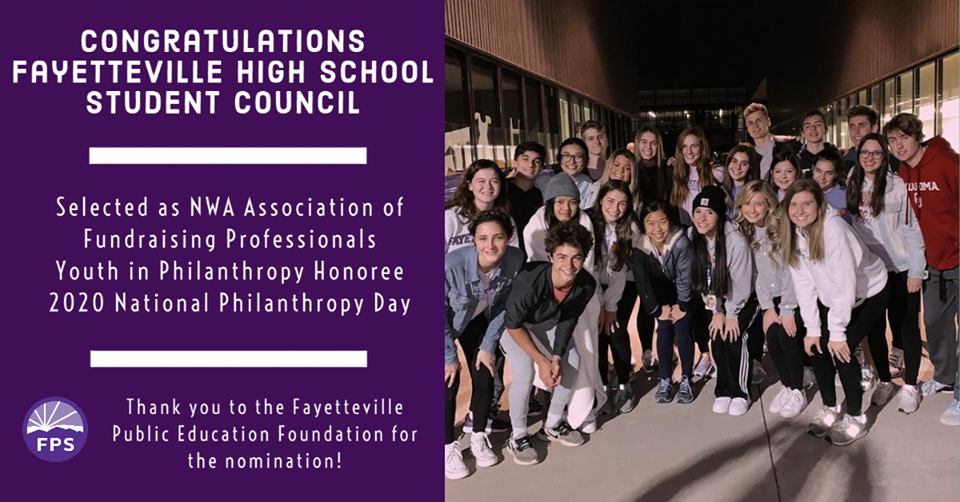 Congratulations to Fayetteville High School Student Council Selected as NWA Association of Fundraising Professionals  Youth in Philanthropy Honoree 2020 National Philanthropy Day